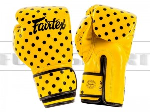 Rękawice bokserskie damskie Fairtex BGV14 Vintager Art Polka Dot - Yellow-Black